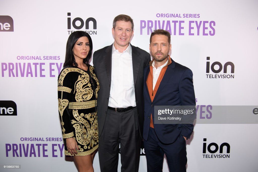 Actress Cindy Sampson, Chairman and Chief Executive Officer of ION Media Brandon Burgess and actor Jason Priestley arrive at the ION Television Private Eyes Launch Event on February 8, 2018 in New York City.