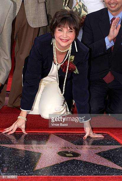 Actress Cindy Williams attends the ceremony honoring her and actress Penny Marshall each with a star on the Hollywood Walk of Fame on August 12 2004...