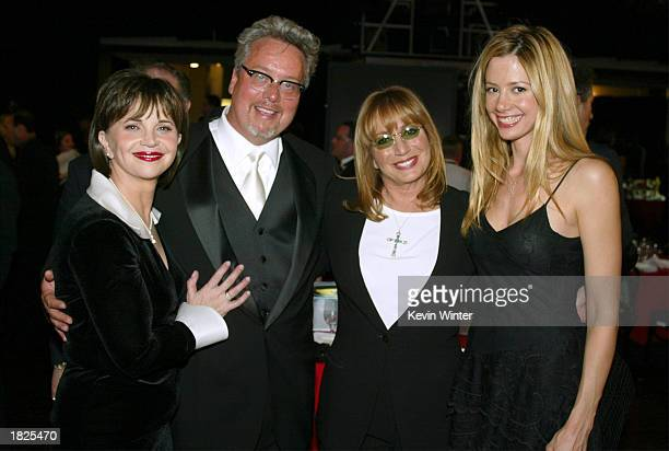 Actress Cindy Williams executive vice president and general manager of TV Land Larry Jones actress Penny Marshall and actress Mira Sorvino pose...