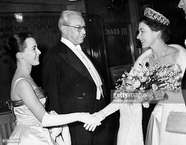 Actress Claire Bloom and film director Sir Alexander Korda meeting Queen Elizabeth II at the film premiere Richard III in London 1955