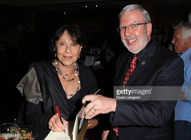 Actress Claire Bloom and film historian Leonard Maltin attend the Academy of Motion Picture Arts and Sciences presentation of the 60th anniversary of...