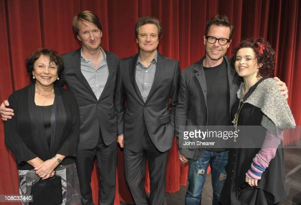 Actress Claire Bloom director Tom Hooper actor Colin Firth actor Guy Pearce and actress Helena Bonham Carter attend the King's Speech SAG QA hosted...