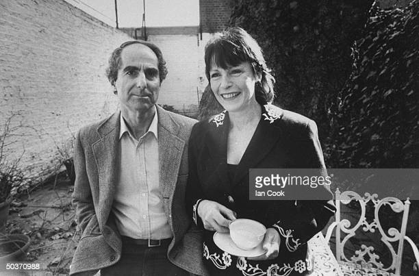 Actress Claire Bloom with her fiance novelist Philip Roth