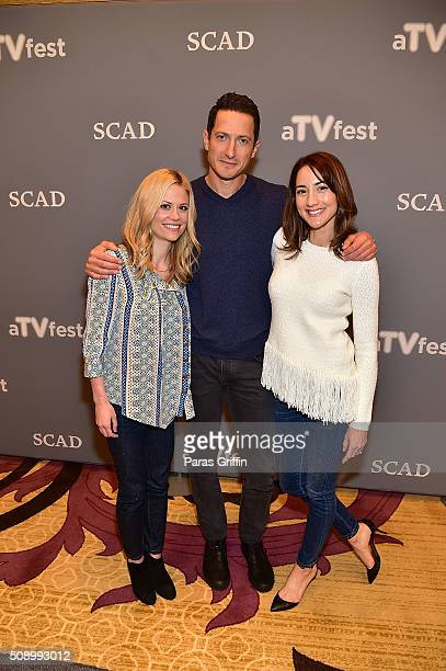 Actress Claire Coffee actor Sasha Roiz and actress Bree Turner attend the 'Grimm' event during aTVfest 2016 presented by SCAD on February 7 2016 in...