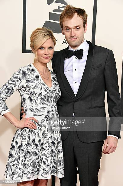 Actress Claire Coffee and recording artist Chris Thile attend The 57th Annual GRAMMY Awards at the STAPLES Center on February 8 2015 in Los Angeles...