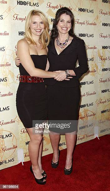 Actress Claire Daines and actress Julia Ormond attend the Temple Grandin New York premiere at the Time Warner Screening Room on January 26 2010 in...