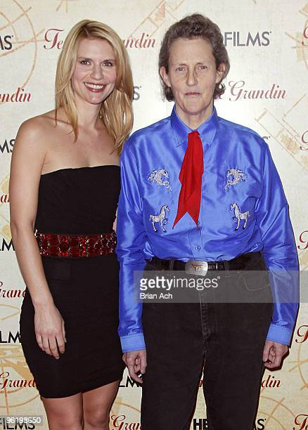 Actress Claire Daines and Dr Temple Grandin attend the Temple Grandin New York premiere at the Time Warner Screening Room on January 26 2010 in New...