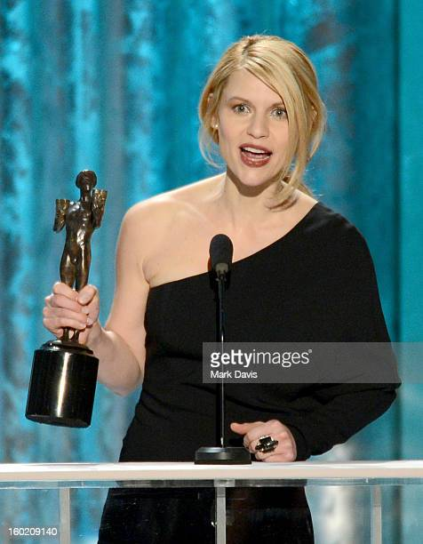 Actress Claire Danes accepts the award for Outstanding Performance by a Female Actor in a Drama Series for 'Homeland' onstage during the 19th Annual...