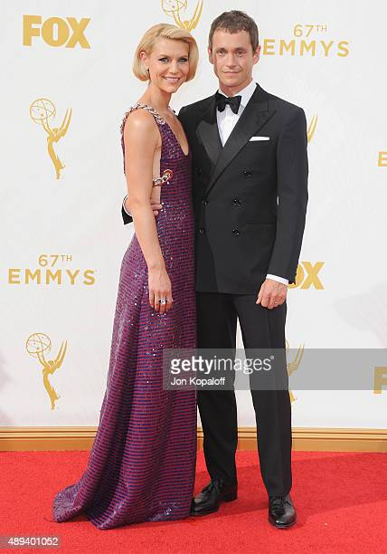 Actress Claire Danes and actor Hugh Dancy arrive at the 67th Annual Primetime Emmy Awards at Microsoft Theater on September 20 2015 in Los Angeles...