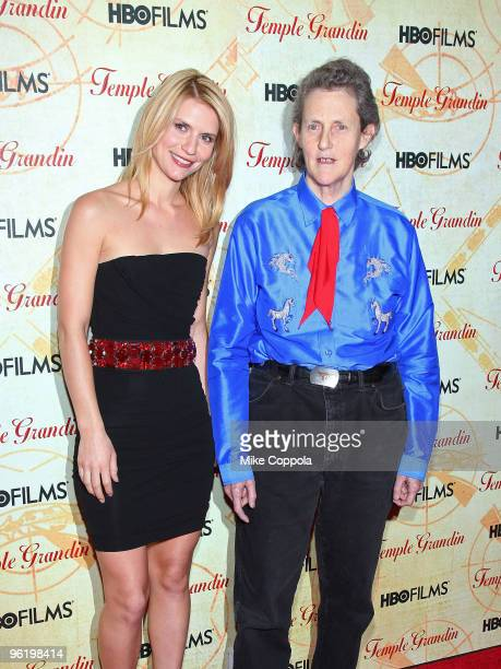 Actress Claire Danes and Dr Temple Grandin attend the premiere of Temple Grandin at the Time Warner Screening Room on January 26 2010 in New York City