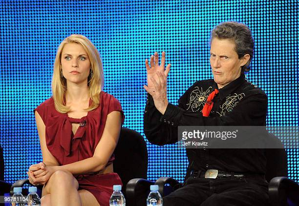 Actress Claire Danes and Dr Temple Grandin of Temple Grandin speak during the HBO portion of the 2010 Television Critics Association Press Tour at...