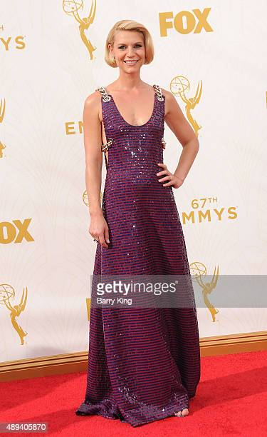 Actress Claire Danes arrives at the 67th Annual Primetime Emmy Awards at the Microsoft Theater on September 20 2015 in Los Angeles California
