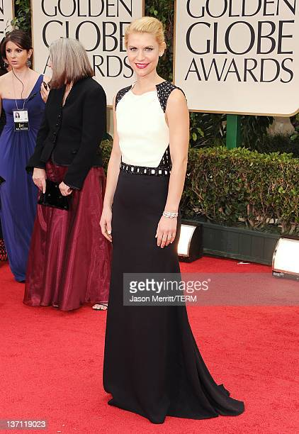 Actress Claire Danes arrives at the 69th Annual Golden Globe Awards held at the Beverly Hilton Hotel on January 15 2012 in Beverly Hills California