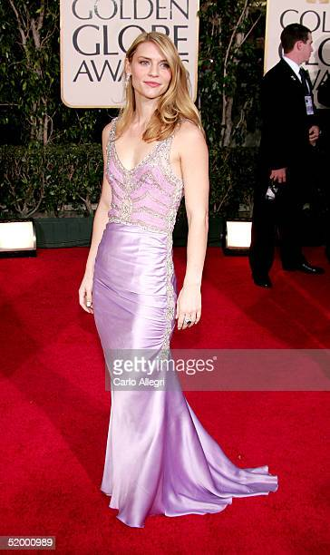 Actress Claire Danes arrives to the 62nd Annual Golden Globe Awards at the Beverly Hilton Hotel January 16 2005 in Beverly Hills California