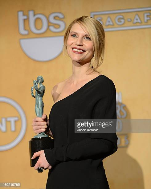 Actress Claire Danes attends the19th Annual Screen Actors Guild Awards Press Room at The Shrine Auditorium on January 27 2013 in Los Angeles...