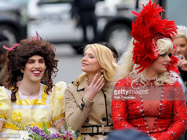 Actress Claire Danes being paraded through the streets of Harvard Square as Harvard University's Hasty Pudding Theatricals Woman of the Year in...