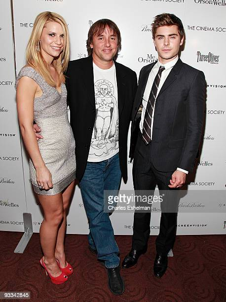 """Actress Claire Danes, director Richard Linklater and actor Zac Efron attend a screening of """"Me And Orson Welles"""" hosted by the Cinema Society,..."""