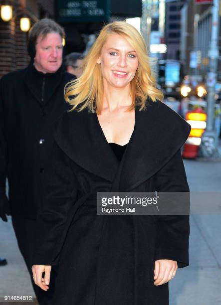 Actress Claire Danes is seen arriving at 'The Late Show with Stephen Colbert' on February 5 2018 in New York City