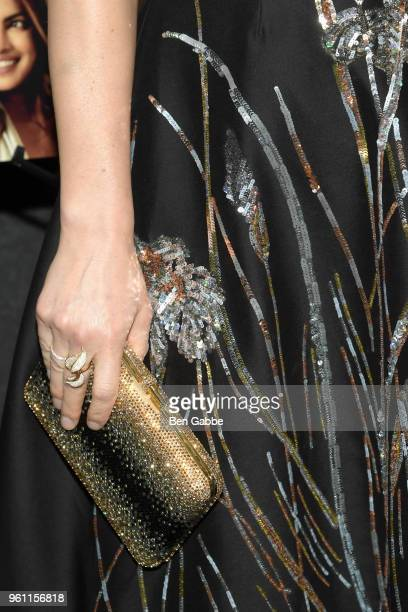 Actress Claire Danes jewelry and clutch detail at the A Kid Like Jake New York Premiere at The Landmark at 57 West on May 21 2018 in New York City