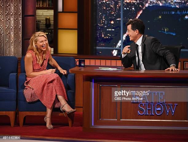Actress Claire Danes on The Late Show with Stephen Colbert Thursday Oct 1 2015 on the CBS Television Network