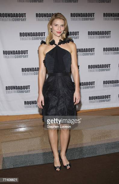 Actress Claire Danes poses for photos after the curtain call on the opening night of Pygmalion on October 18, 2007 in New York City.