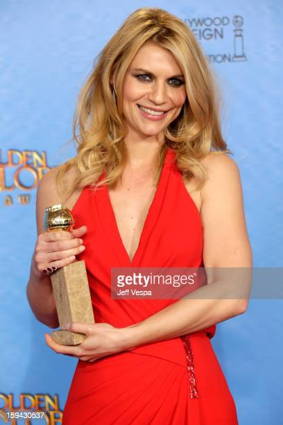 Actress Claire Danes poses in the press room at the 70th Annual Golden Globe Awards held at The Beverly Hilton Hotel on January 13 2013 in Beverly...