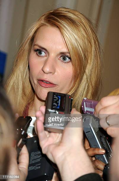 Actress Claire Danes speaks during the HBO portion of the 2010 Television Critics Association Press Tour at the Langham Hotel on January 14, 2010 in...