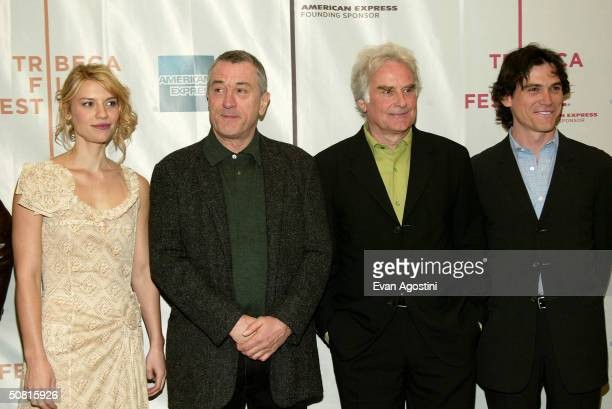 Actress Claire Danes Tribeca Film Festival cofounder Robert De Niro director Richard Eyre and actor Billy Crudup pose at the Gala Premiere of 'Stage...