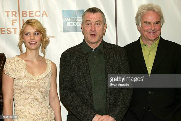Actress Claire Danes Tribeca Film Festival cofounder Robert De Niro and Director Richard Eyre pose at the Gala Premiere of 'Stage Beauty' during the...