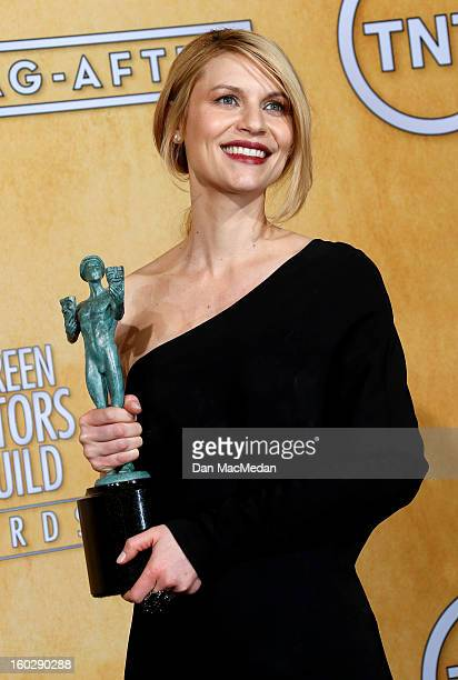 Actress Claire Danes winner of Outstanding Performance by a Female Actor in a Drama Series for 'Homeland' poses in the press room at the 19th Annual...