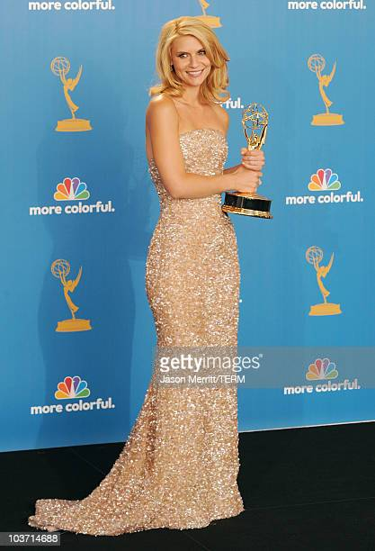 Actress Claire Danes winner of the Outstanding Lead Actress in a Miniseries or a Dramatic Special Award for Temple Grandin poses in the press room at...