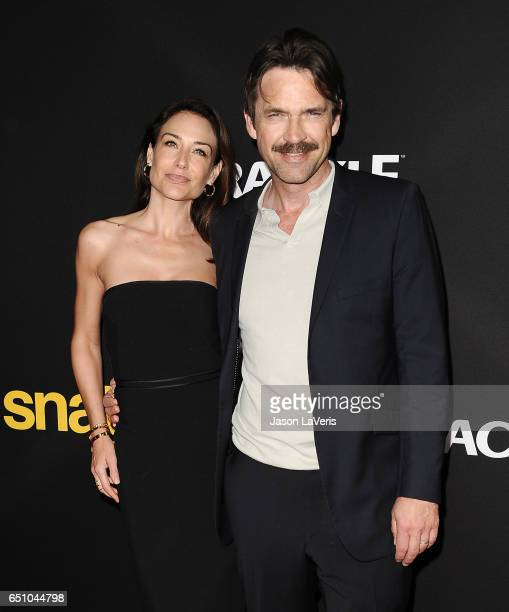 Actress Claire Forlani and actor Dougray Scott attend the premiere of Snatch at Arclight Cinemas Culver City on March 9 2017 in Culver City California
