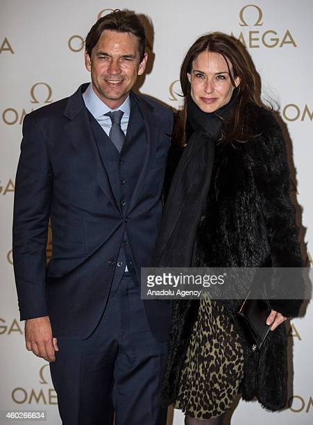 Actress Claire Forlani attends a private dinner celebrating the opening of the OMEGA Oxford Street boutique at Aqua Shard on December 10, 2014 in...