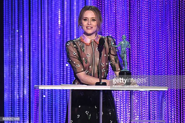 Actress Claire Foy accepts the award for Best Female Actor in a Drama Series for 'The Crown' onstage during the 23rd Annual Screen Actors Guild...