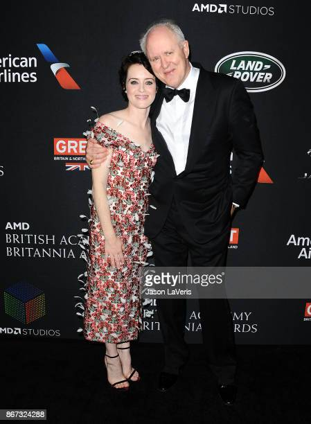 Actress Claire Foy and actor John Lithgow attend the 2017 AMD British Academy Britannia Awards at The Beverly Hilton Hotel on October 27, 2017 in...