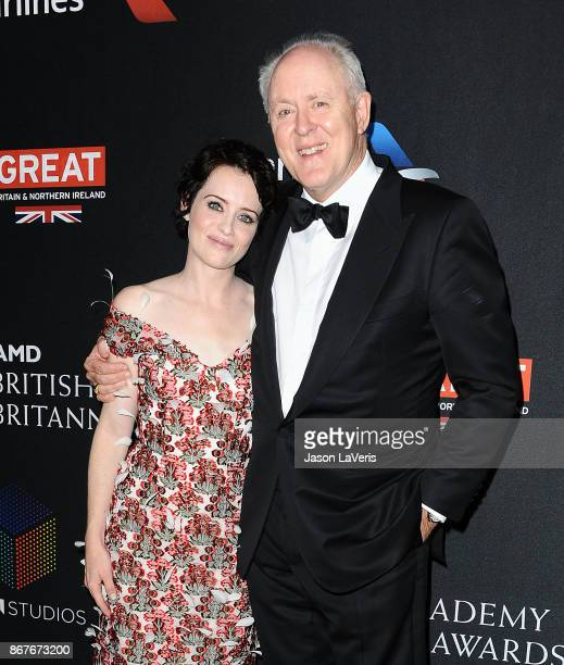 Actress Claire Foy and actor John Lithgow attend the 2017 AMD British Academy Britannia Awards at The Beverly Hilton Hotel on October 27 2017 in...