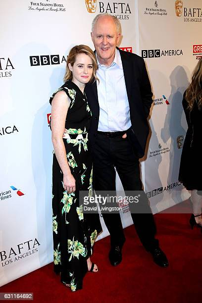 Actress Claire Foy and actor John Lithgow attend The BAFTA Tea Party at Four Seasons Hotel Los Angeles at Beverly Hills on January 7 2017 in Los...