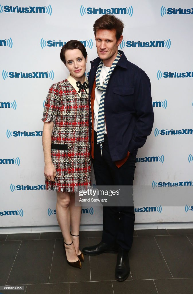 Actress Claire Foy and actor Matt Smith visit the SiriusXM studios on December 5, 2017 in New York City.