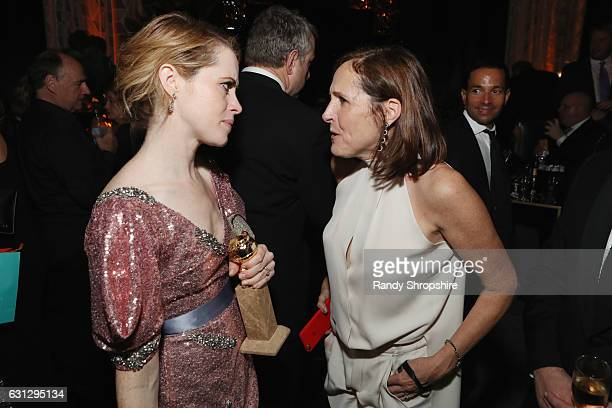 Actress Claire Foy and actress Molly Shannon attend The Weinstein Company and Netflix Golden Globe Party presented with FIJI Water Grey Goose Vodka...