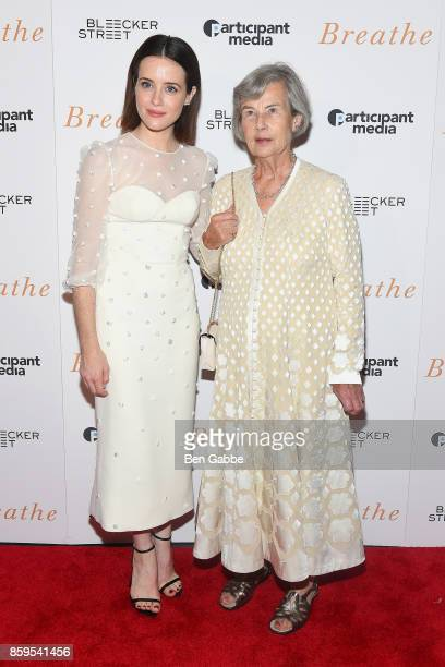 Actress Claire Foy and producer Diana Cavendish attend the Breathe New York Special Screening at AMC Loews Lincoln Square 13 theater on October 9...