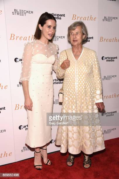 """Actress Claire Foy and producer Diana Cavendish attend the """"Breathe"""" New York special screening at AMC Loews Lincoln Square 13 theater on October 9,..."""