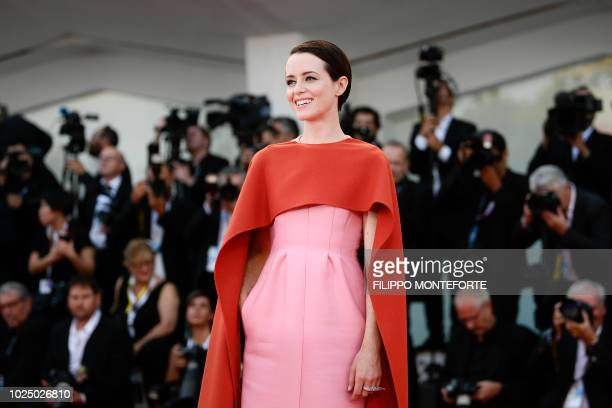 Actress Claire Foy arrives for the opening ceremony and the premiere of the film First Man presented in competition at the 75th Venice Film Festival...