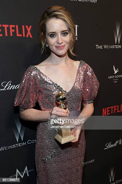 Actress Claire Foy at The Weinstein Company and Netflix Golden Globes Party presented with FIJI Water at The Beverly Hilton Hotel on January 8 2017...