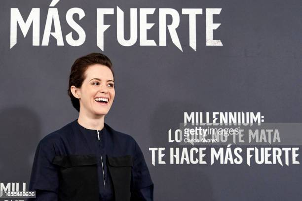 Actress Claire Foy attends 'Millennium Lo Que No Te Mata Te Hace Mas Fuerte' photocall at Villamagna Hotel on October 30 2018 in Madrid Spain