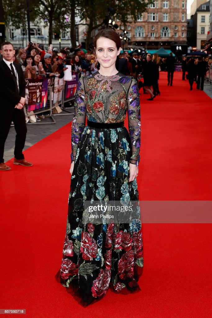 Actress Claire Foy attends the European Premiere of 'Breathe' on the opening night gala of the 61st BFI London Film Festival on October 4, 2017 in London, England.