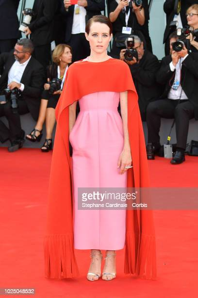 Actress Claire Foy walks the red carpet ahead of the opening ceremony and the 'First Man' screening during the 75th Venice Film Festival at Sala...