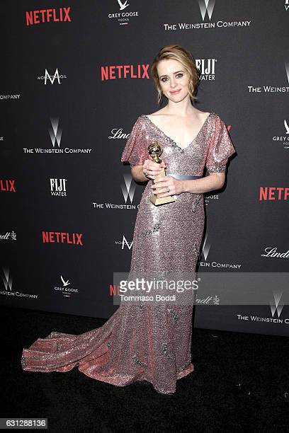 Actress Claire Foy winner of Best Actress in a Drama Series for 'The Crown' attends The Weinstein Company and Netflix Golden Globe Party presented...