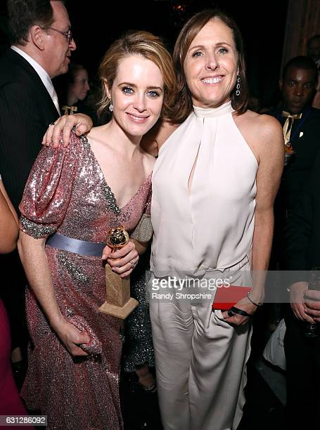 Actress Claire Foy winner of the Best Actress in a Television Series Drama award for 'The Crown' and actress Molly Shannon attend The Weinstein...