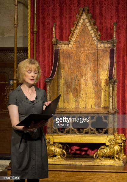 Actress Claire Skinner reads a poem in front of King Edward's Chair, otherwise known as the Coronation Chair, the throne used since the 14th century...