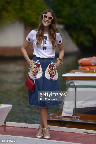 Actress Clara Alonso arrives on a taxiboat at the Excelsior Hotel during the 74th Venice Film Festival on September 1 2017 at Venice Lido / AFP PHOTO...
